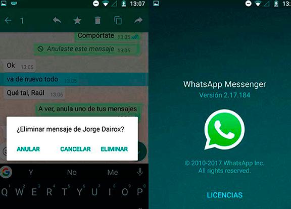 La versión beta de WhatsApp ya deja eliminar nuestros mensajes en el teléfono del destinatario